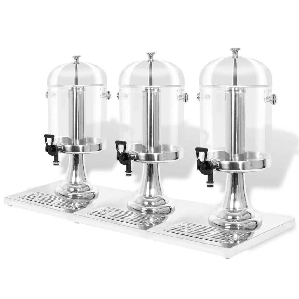 vidaXL Trojitý zásobník na nápoje z nehrdzavejúcej ocele 3 x 8 L
