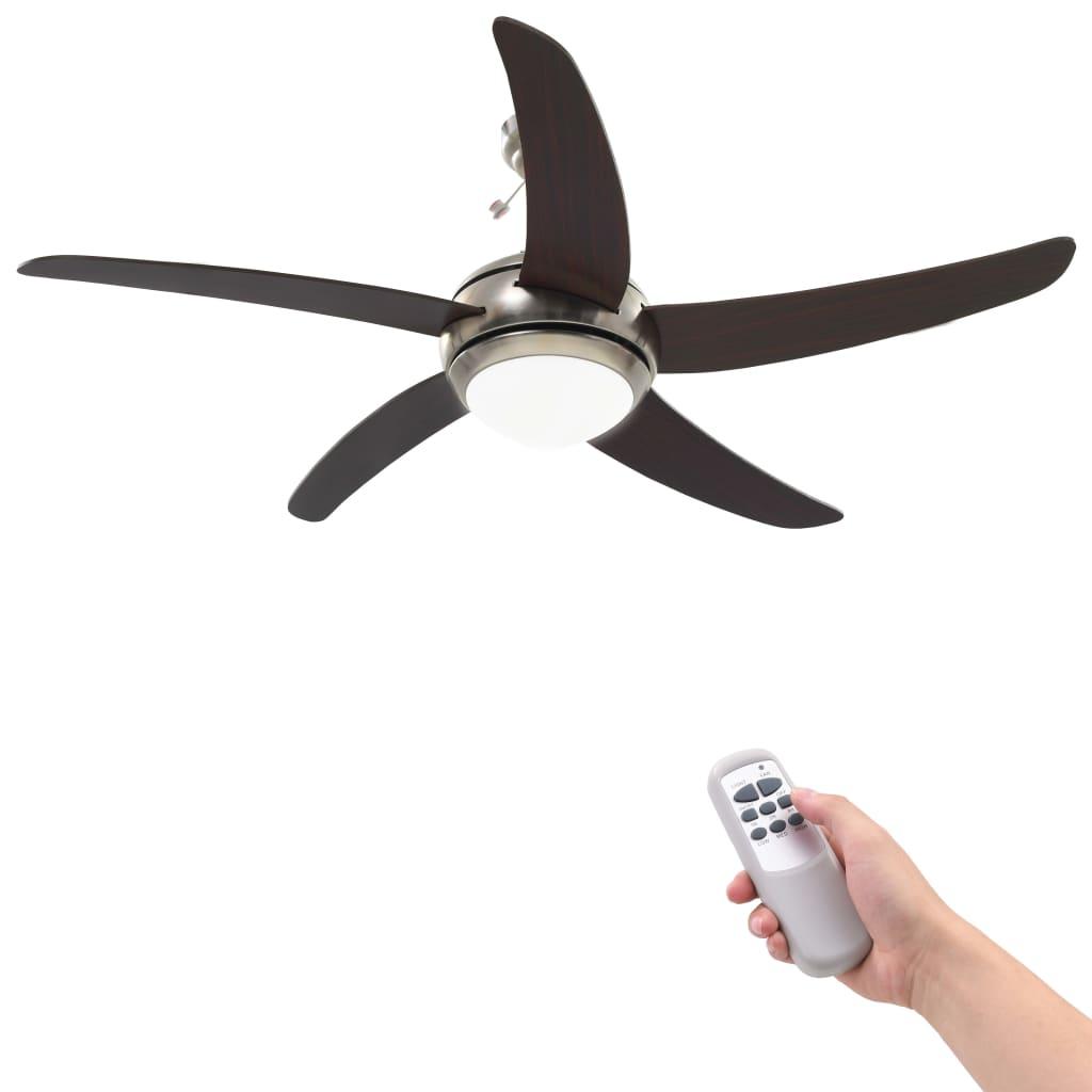 vidaXL Ozdobný stropný ventilátor s osvetlením, 128 cm, hnedý