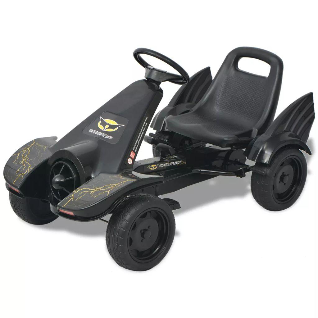 vidaXL Detská šlapacia štvorkolka s nastaviteľným sedadlom, čierna