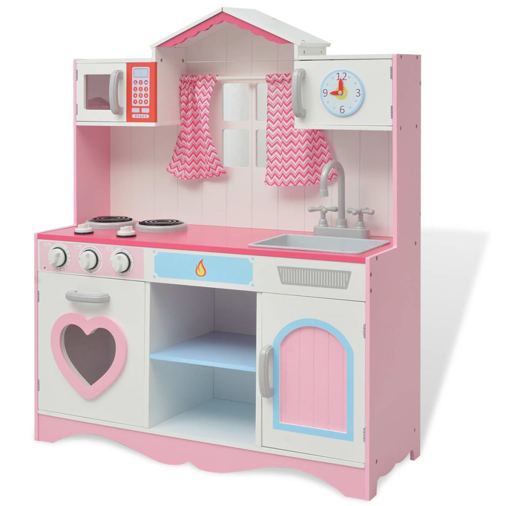 vidaXL Drevená detská kuchynka, 82x30x100 cm, ružovo- biela
