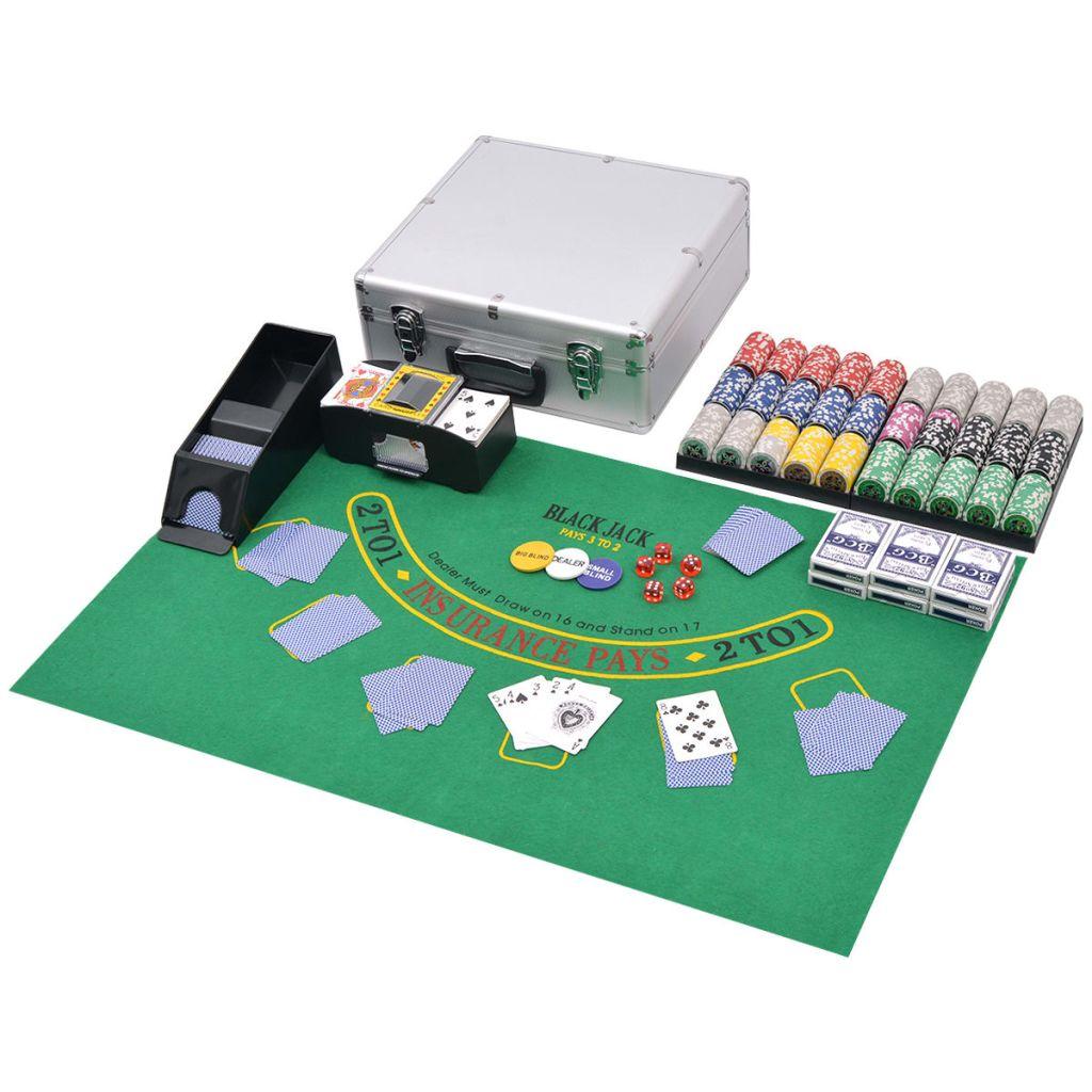 vidaXL Sada na poker/blackjack so 600 ks žetónov, hliníková