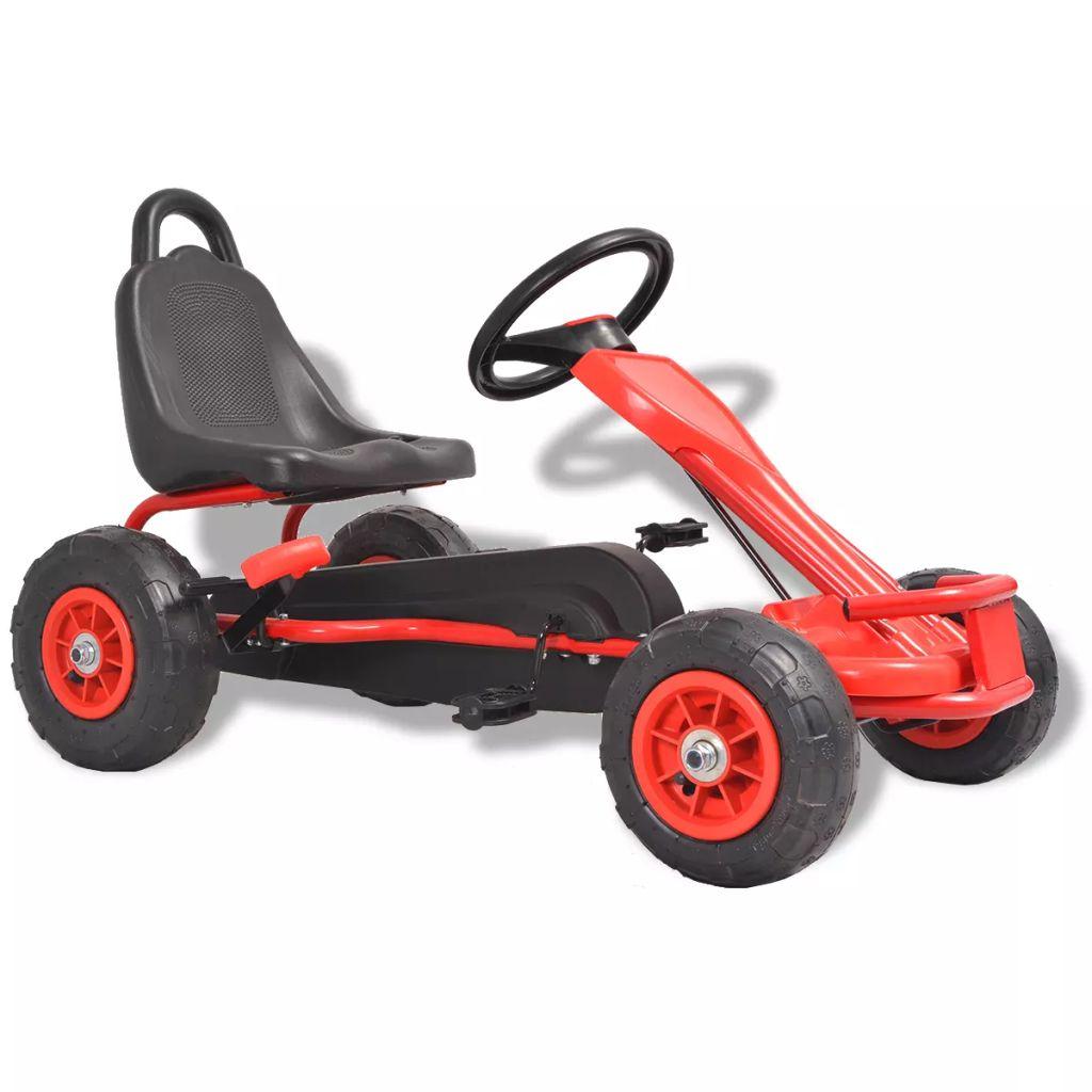 vidaXL Detská šľapacia motokára s pneumatikami, červená