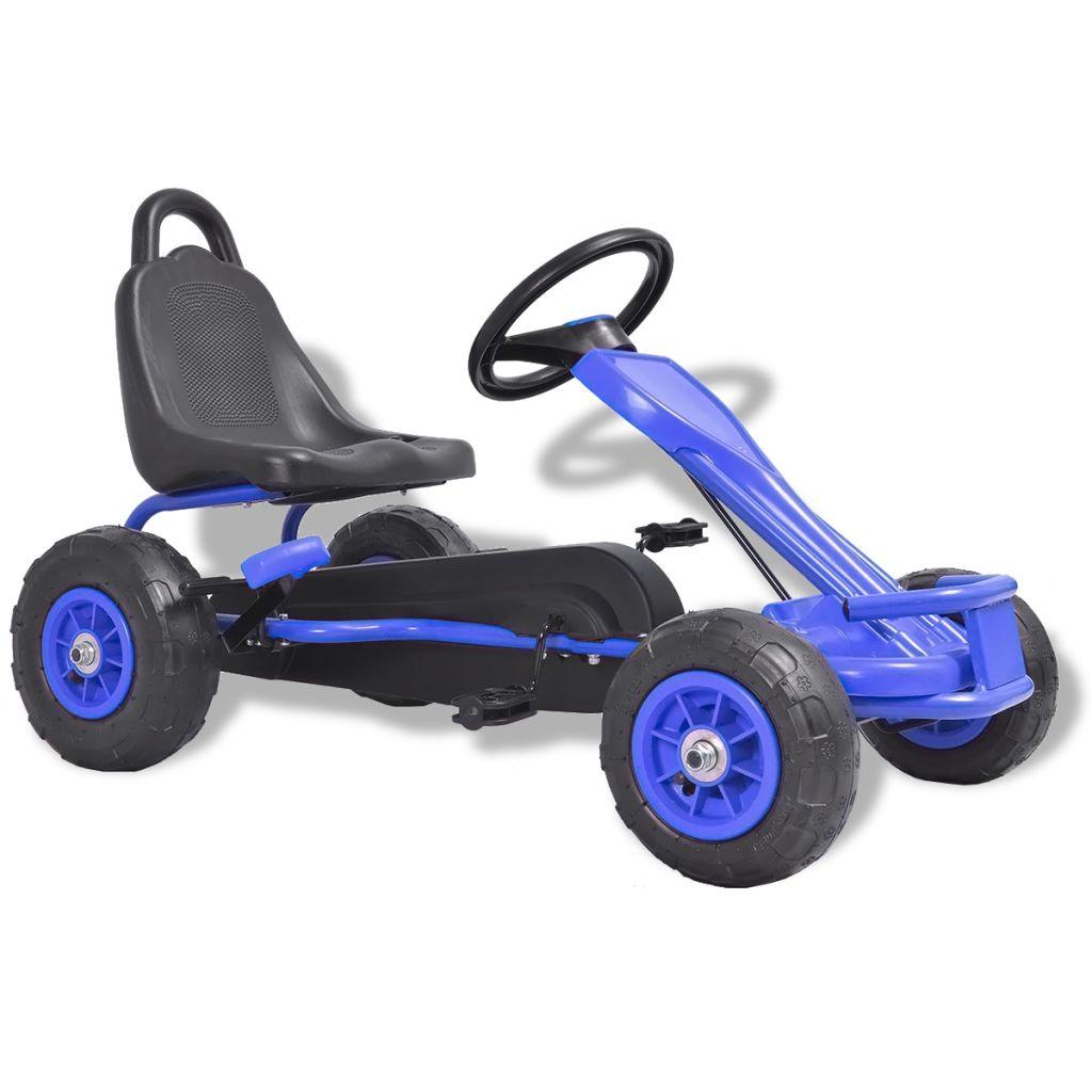 vidaXL Detská šľapacia motokára s pneumatikami, modrá