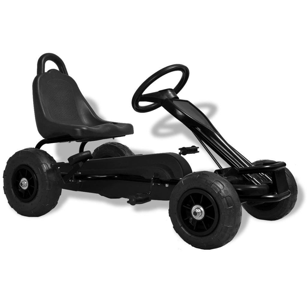 vidaXL Detská šľapacia motokára s pneumatikami, čierna