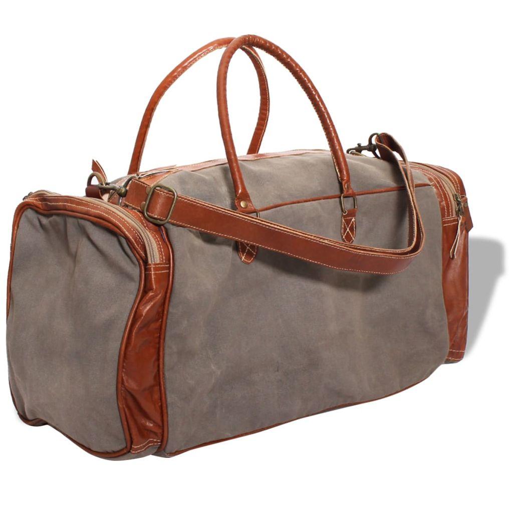 vidaXL Víkendová taška, plátno a pravá koža, tmavosivá