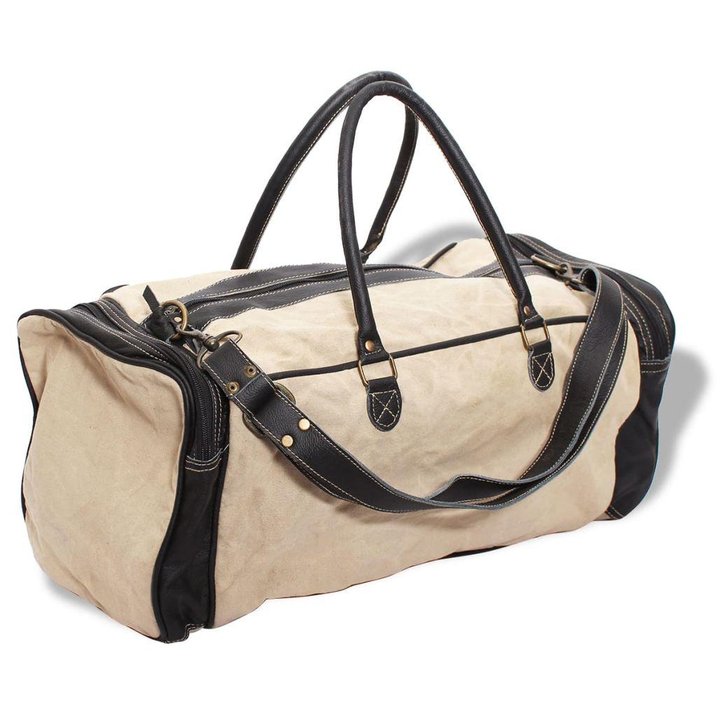 vidaXL Víkendová taška, plátno a pravá koža, béžová