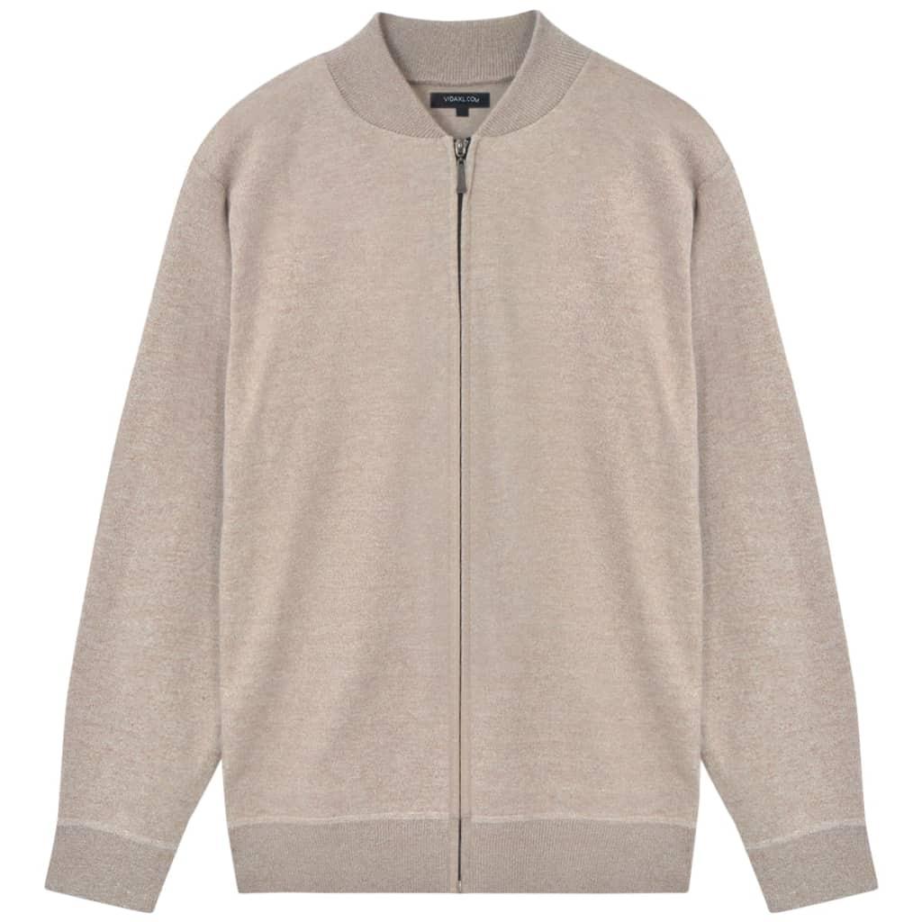 vidaXL Pánsky sveter, béžový, L