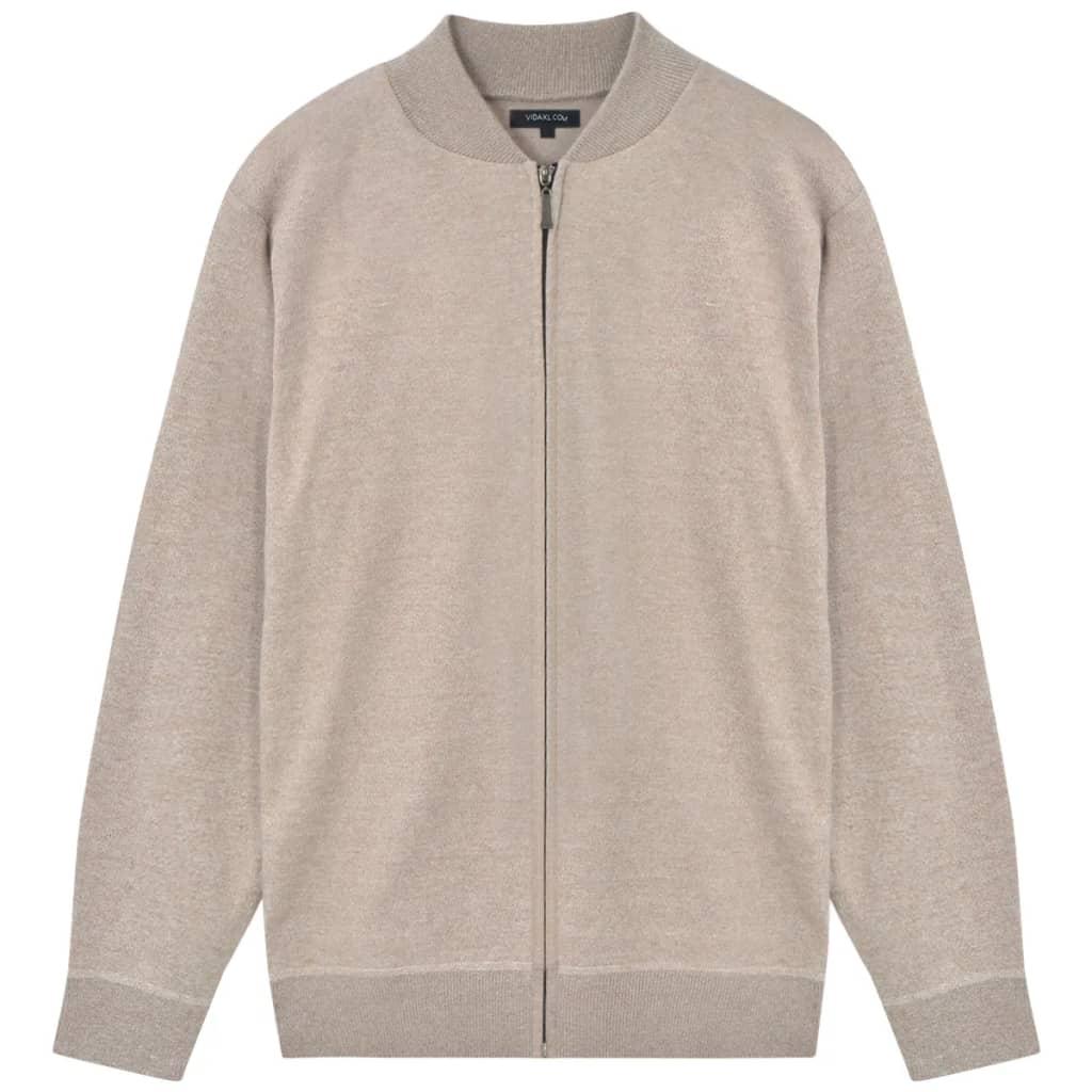 vidaXL Pánsky sveter, béžový, XL