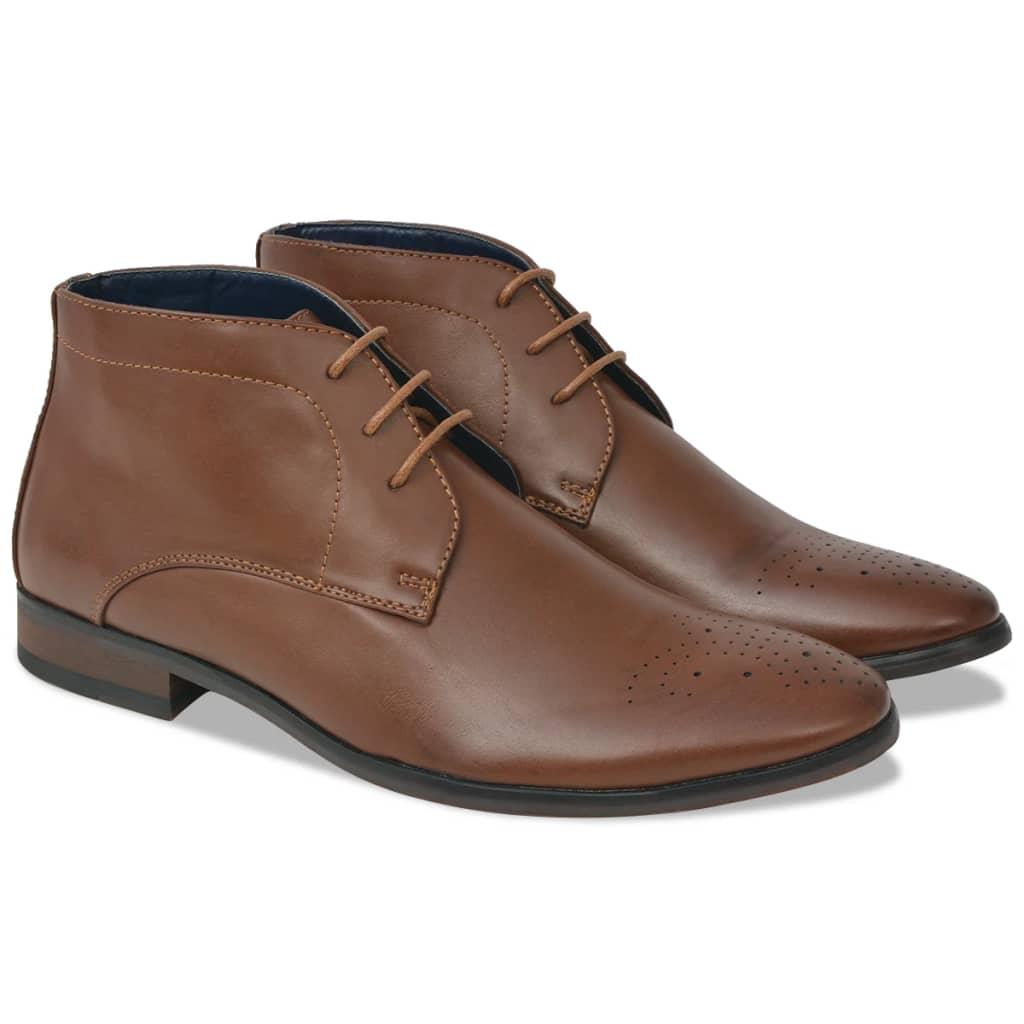 vidaXL Pánske šnurovacie členkové topánky, hnedé, veľkosť 45, PU koža