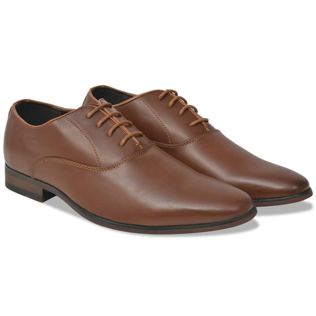 vidaXL Pánske formálne šnurovacie topánky, hnedé, veľkosť 41, PU koža