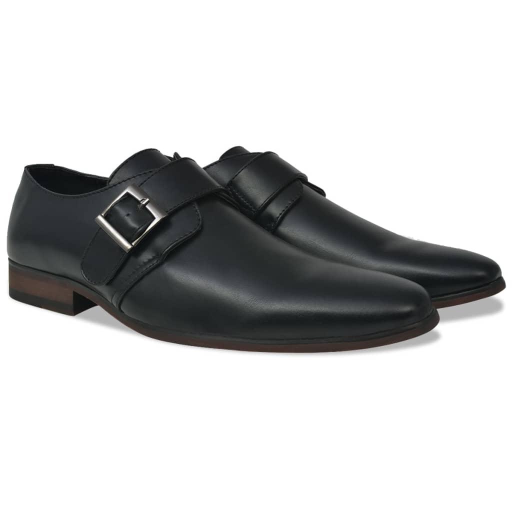 vidaXL Pánske topánky s prackou, čierne, veľkosť 45, PU koža