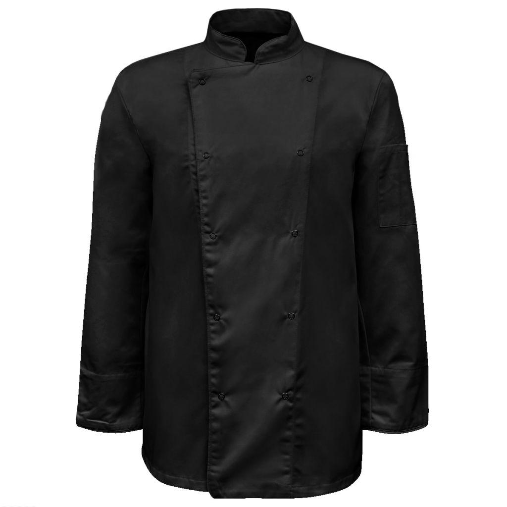 vidaXL Kuchárska košeľa s dlhými rukávmi, 2 ks, veľkosť XL, čierna