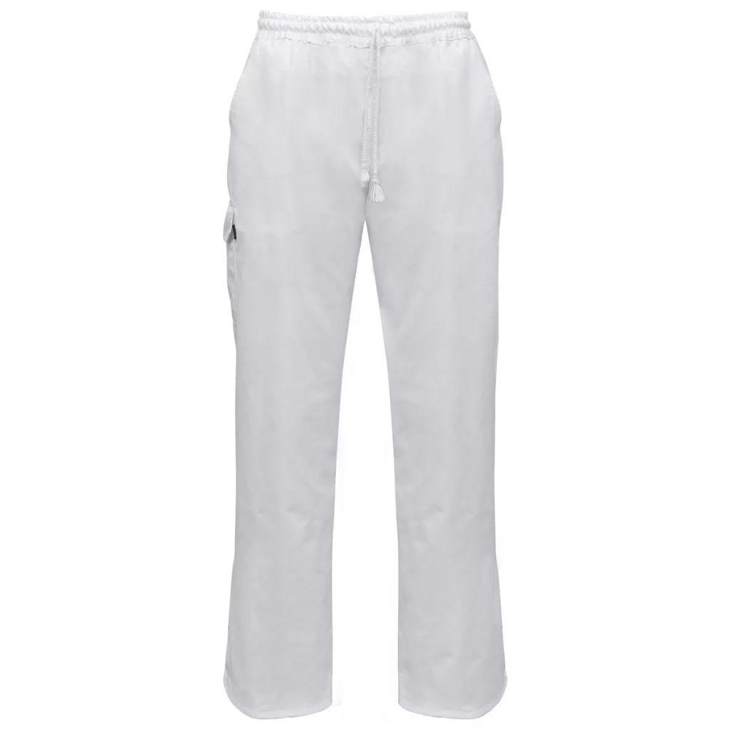 vidaXL Kuchárske nohavice 2 ks, naťahovací pás so šnúrkou, veľkosť M, biele