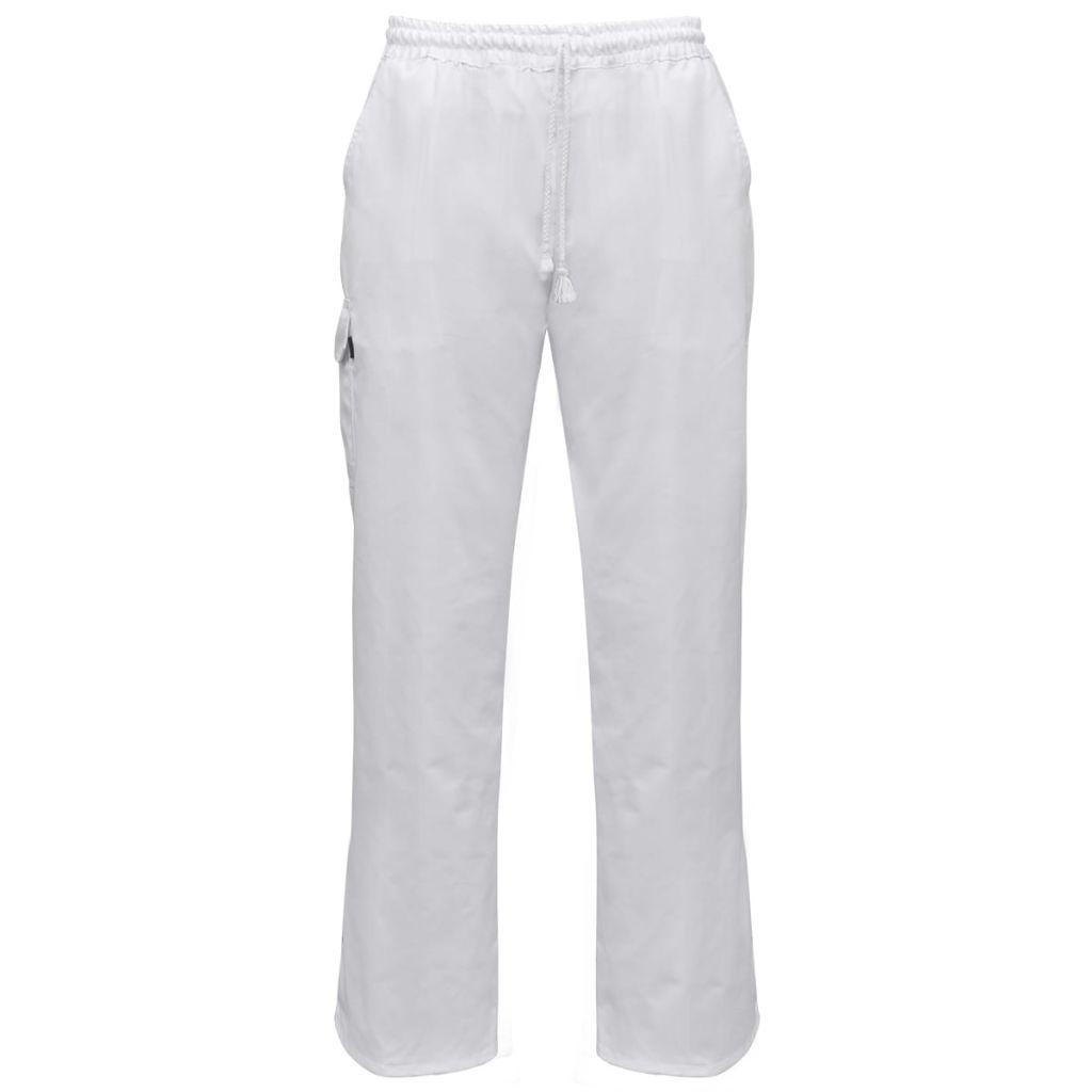 vidaXL Kuchárske nohavice 2 ks, naťahovací pás so šnúrkou, veľkosť L, biele