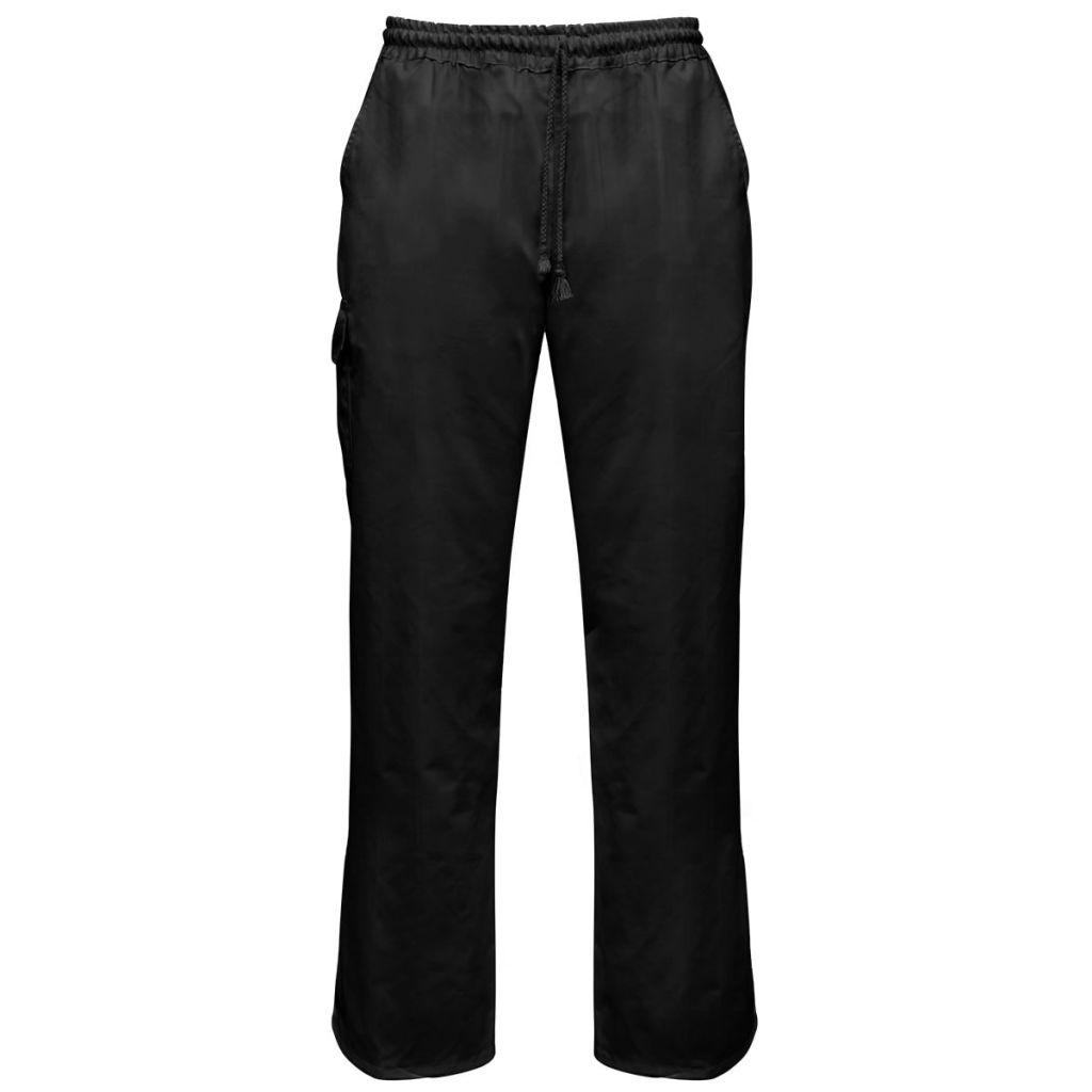 vidaXL Kuchárske nohavice 2 ks, naťahovací pás so šnúrkou, veľkosť S, čierne