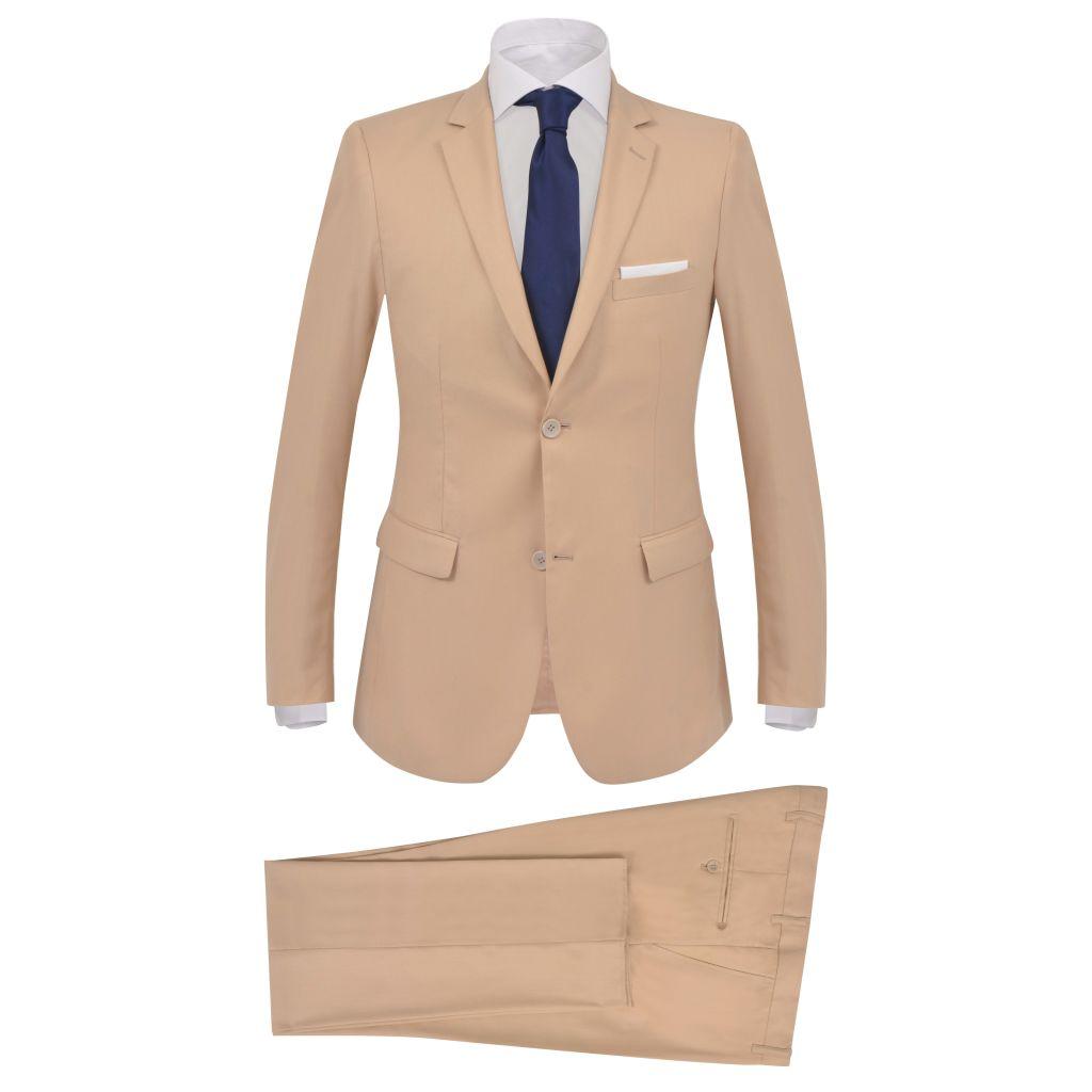 vidaXL Pánsky dvojdielny formálny oblek, veľkosť 54, béžový