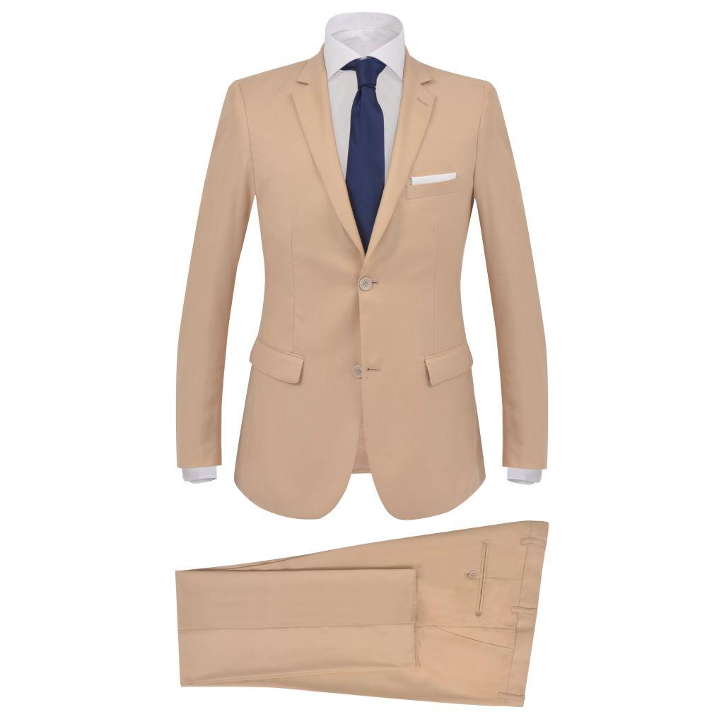 vidaXL Pánsky dvojdielny formálny oblek, veľkosť 56, béžový