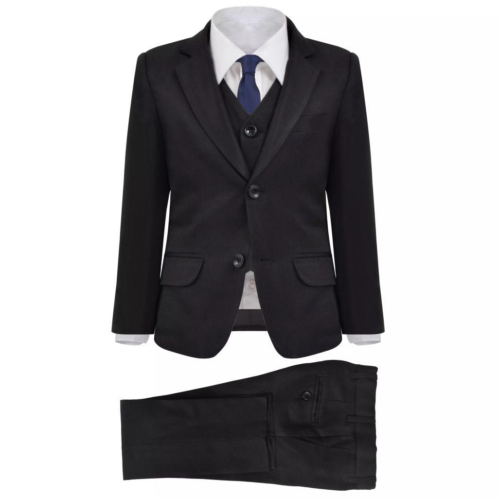 vidaXL Detský 3-dielny večerný oblek, veľkosť 140/146, čierny