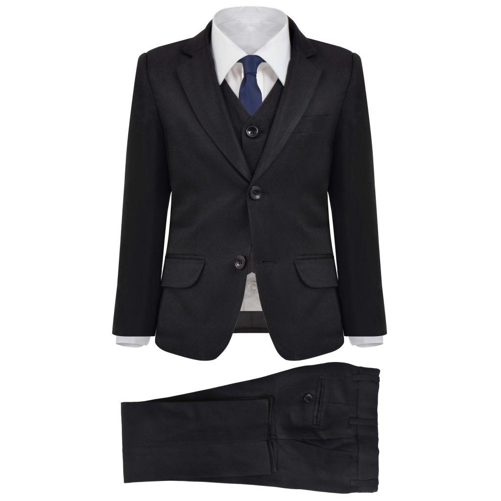 vidaXL Detský 3-dielny večerný oblek, veľkosť 152/158, čierny