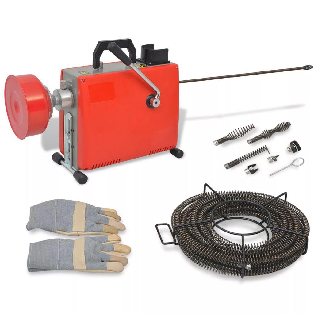 vidaXL Špirálový čistič odtokov 250 W 15mx16mm 4,5mx9,5mm