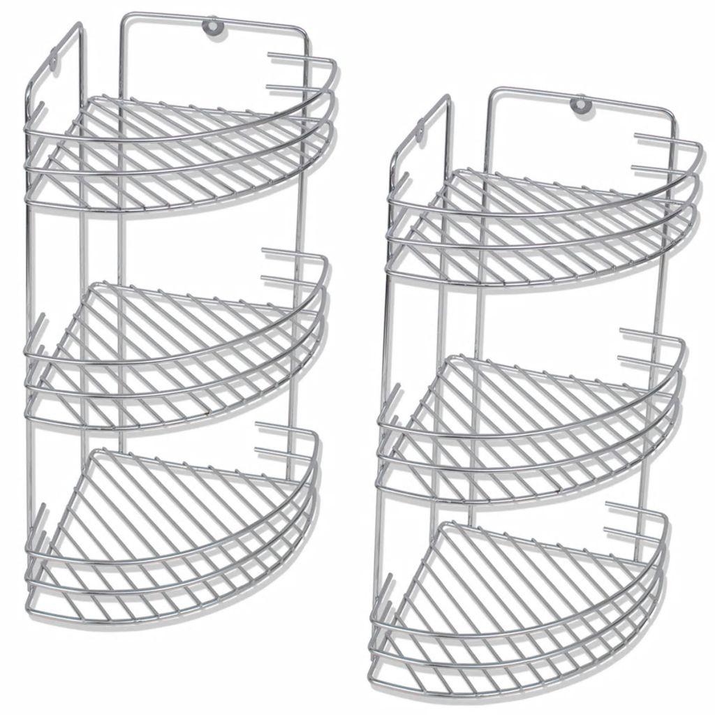 vidaXL Trojposchodové sprchové poličky, 2 ks, kovové