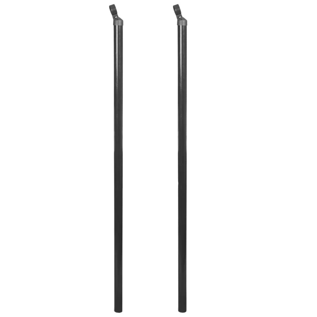 vidaXL Vodorovný stĺpik pre pletivo, 2 ks, 195 cm, šedý