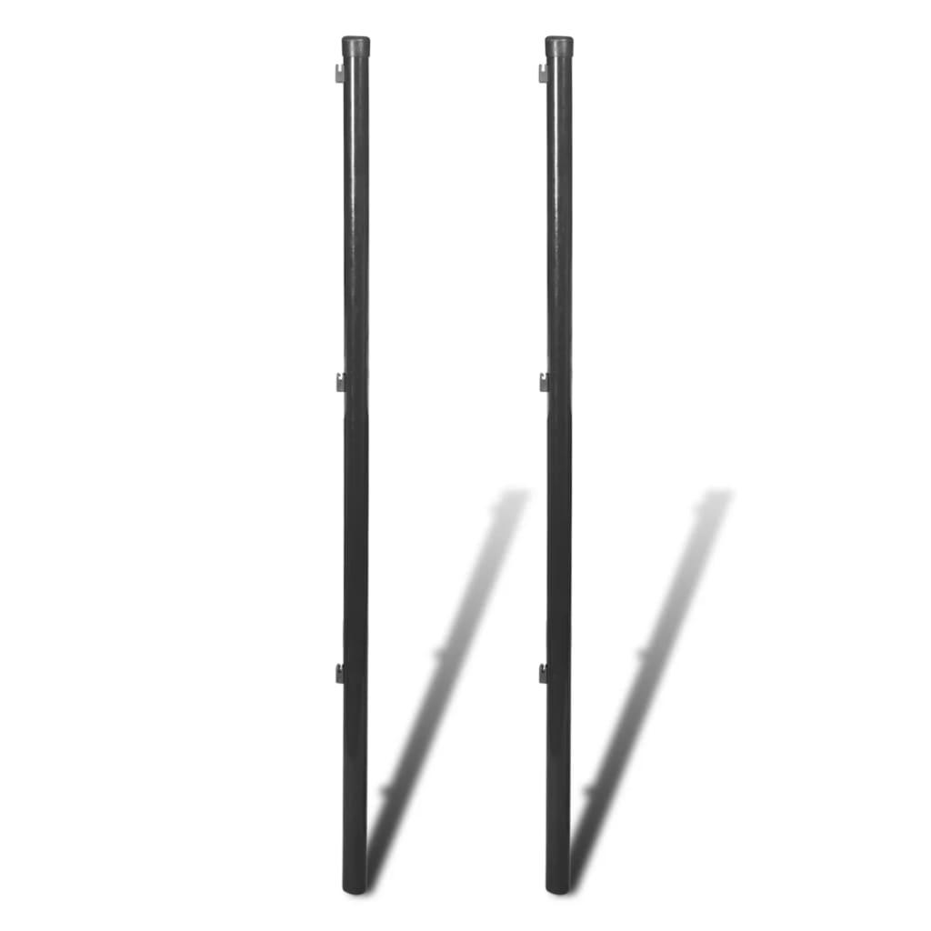 vidaXL Stĺpik pre pletivo, 2 ks, 195 cm, šedý