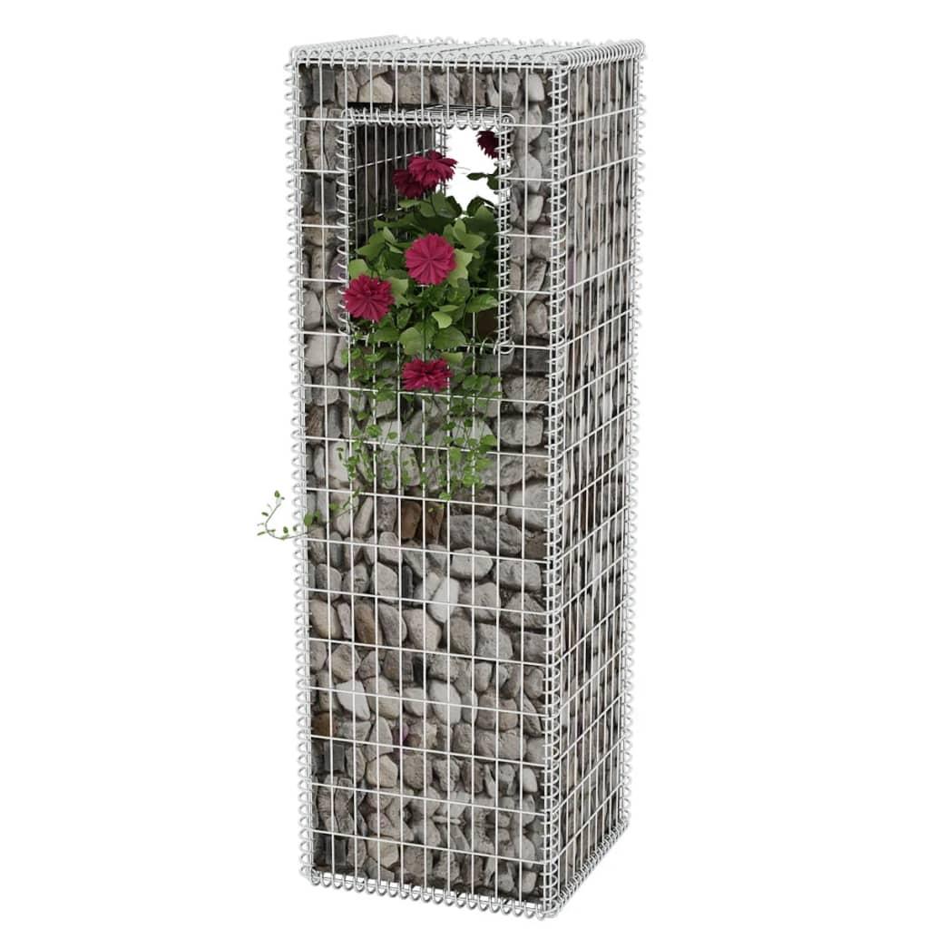 vidaXL Gabiónový kôš/kvetináč, oceľový, 50x50x160 cm