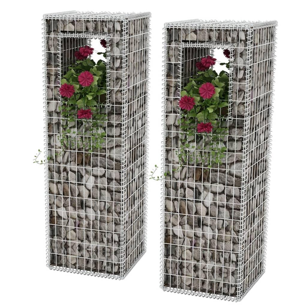 vidaXL Gabiónové koše/stĺpy/kvetináče 2 ks, oceľ 50x50x160 cm