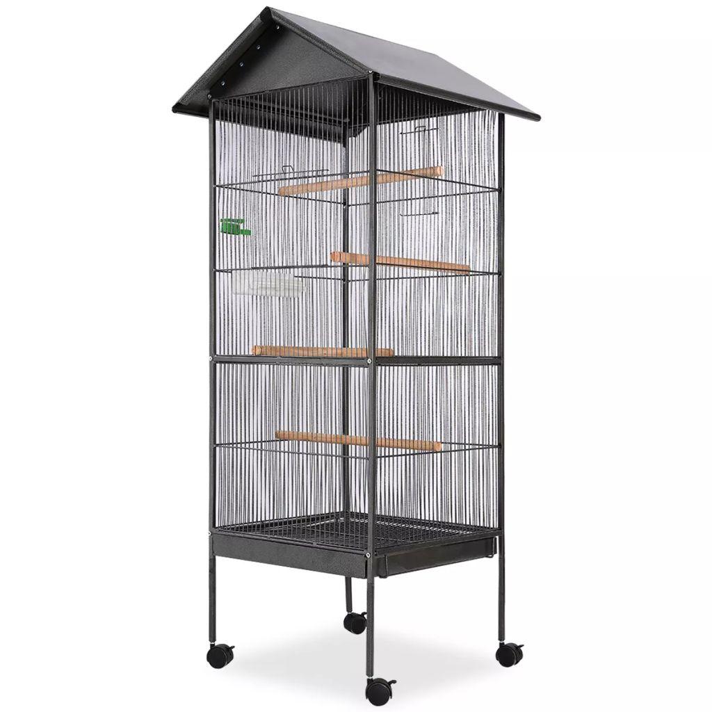vidaXL Oceľová voliéra pre vtákov so strechou, čierna, 66x66x155 cm