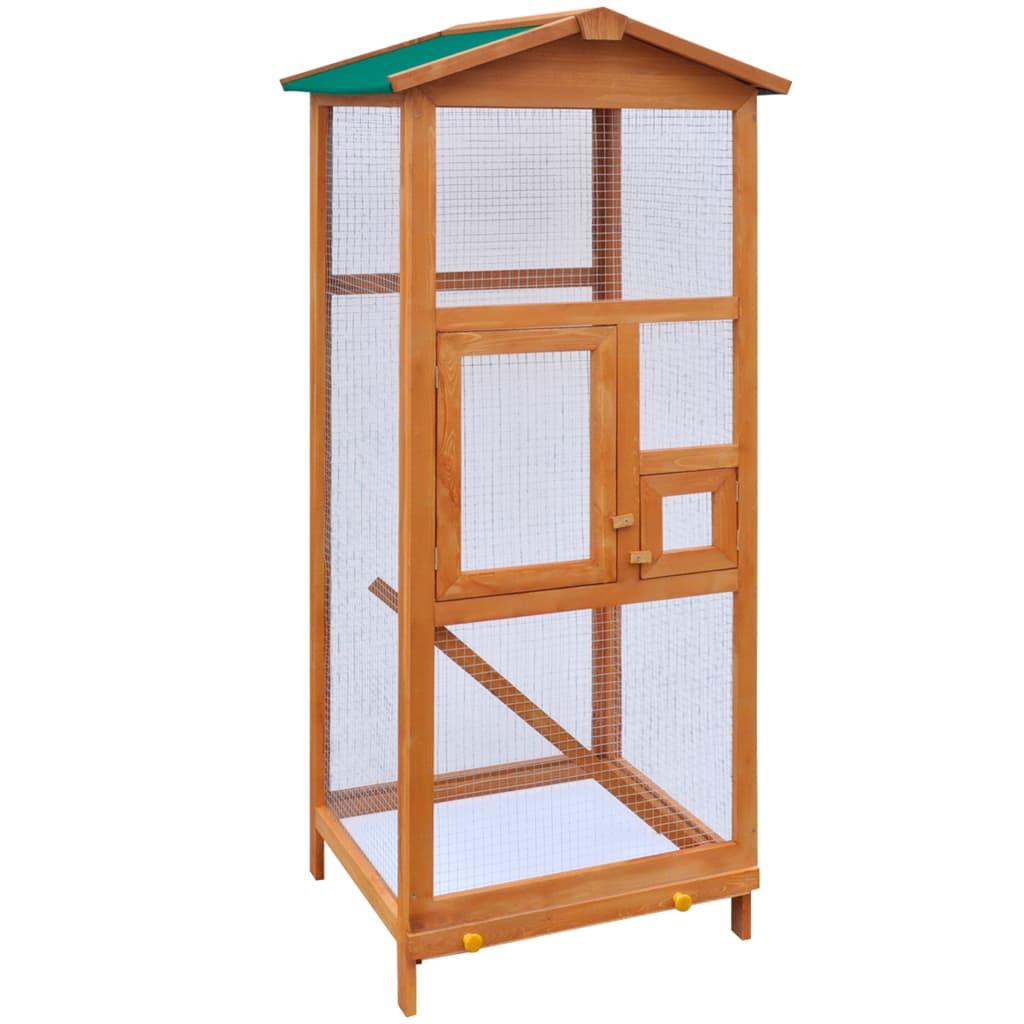 vidaXL Voliéra pre vtákov, drevená, 65x63x165 cm
