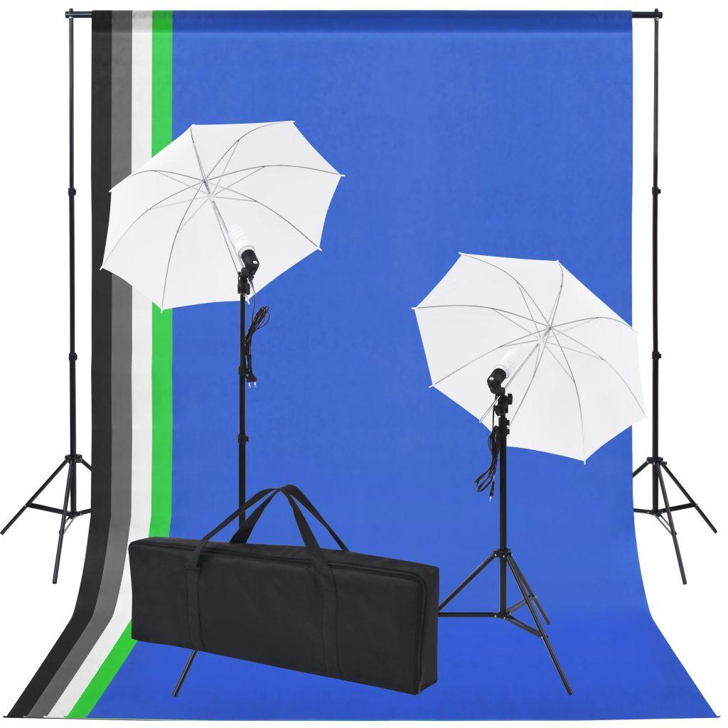 vidaXL Fotografická súprava s 5 farebnými pozadiami & 2 dáždnikmi