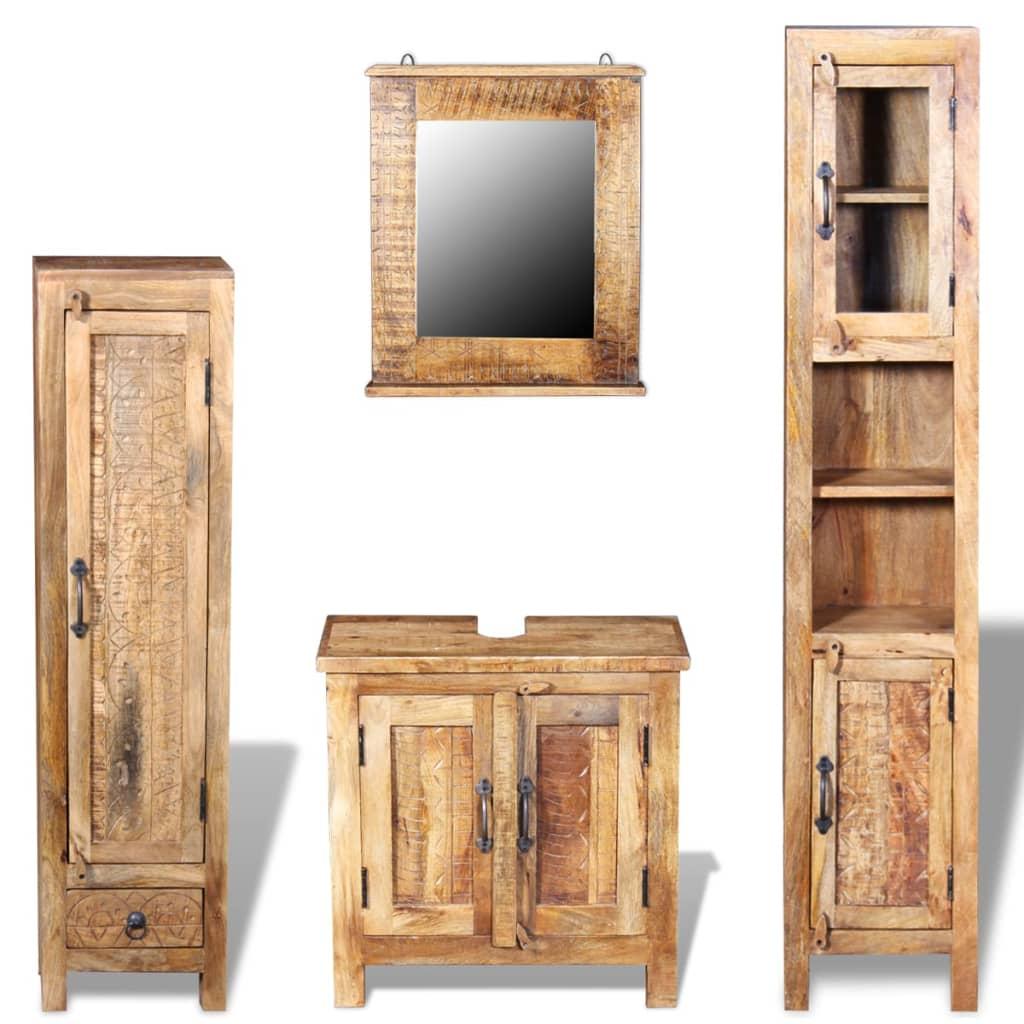 vidaXL Skrinka so zrkadlom a 2 bočnými skrinkami, masívne mangové drevo