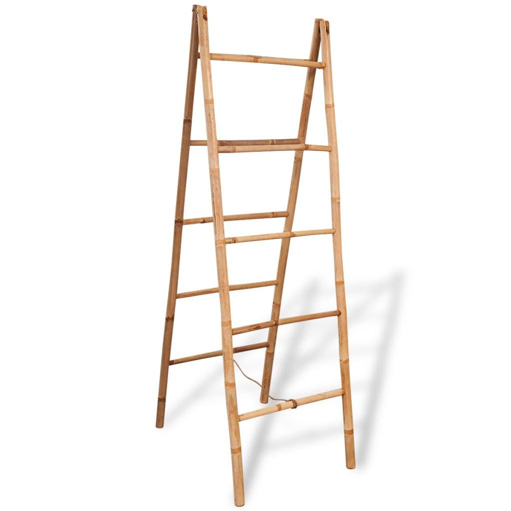vidaXL Dvojitý vešiak na uteráky, rebrík s 5 priečkami, bambus, 50x160 cm