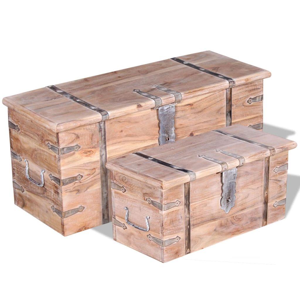 vidaXL 2-dielna sada úložných truhlíc z akáciového dreva