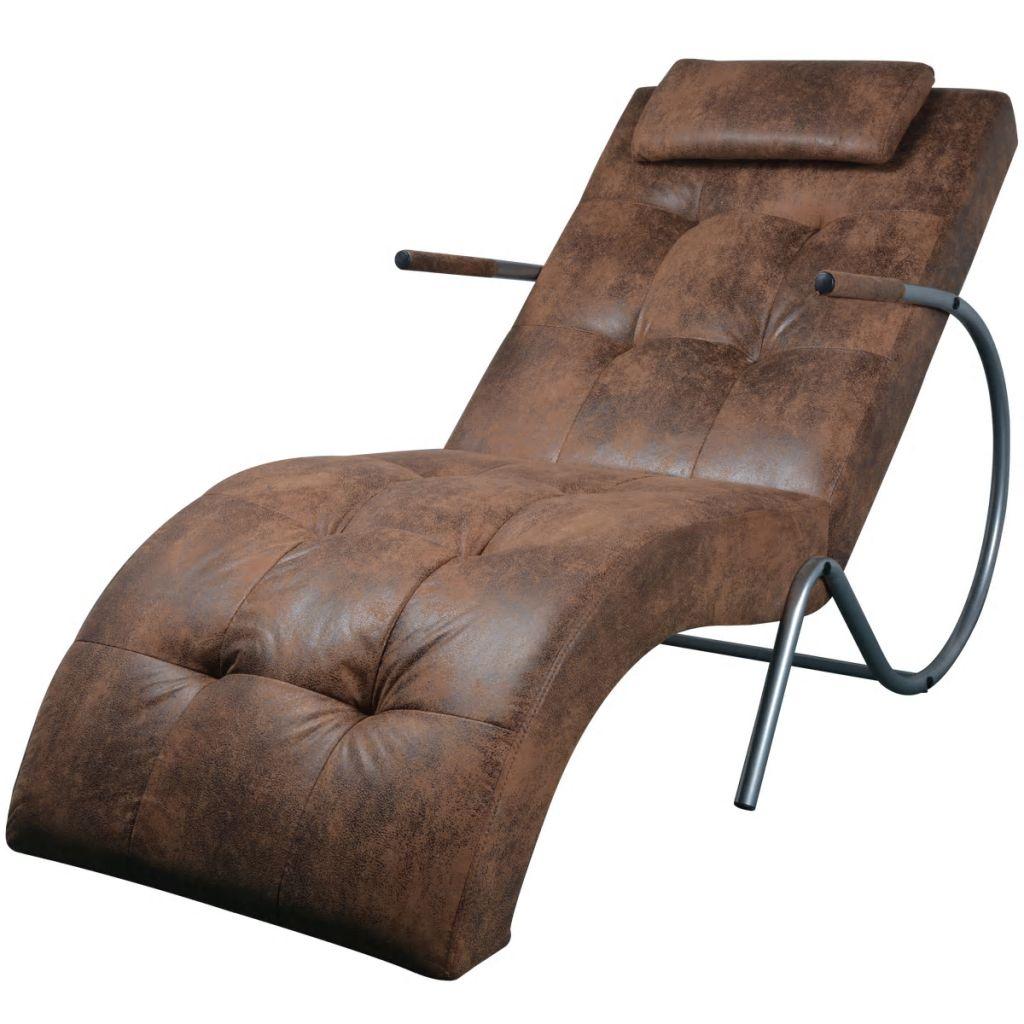vidaXL Relaxačné ležadlo s vankúšom, hnedá látka so semišovým vzhľadom