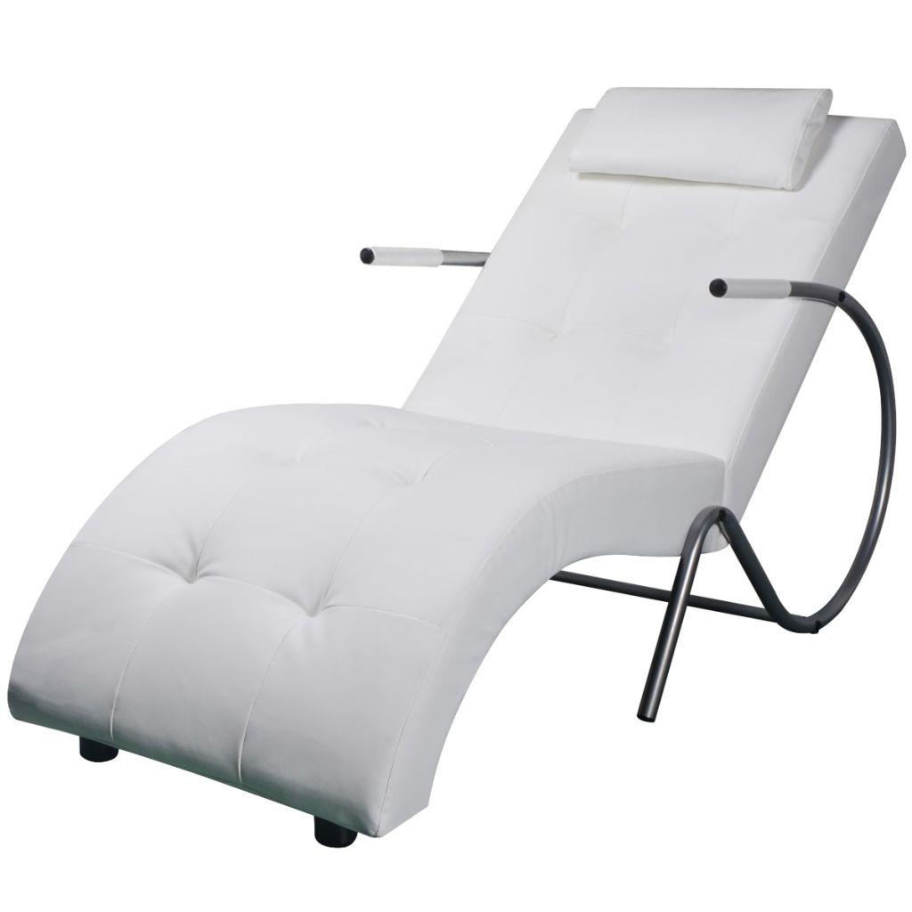 vidaXL Relaxačné ležadlo s vankúšom, biele, umelá koža