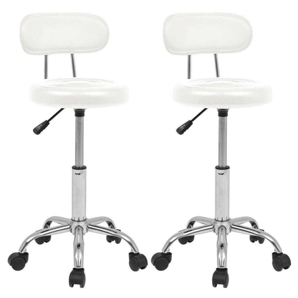 vidaXL Otočná barová stolička 2 ks, umelá koža, biela
