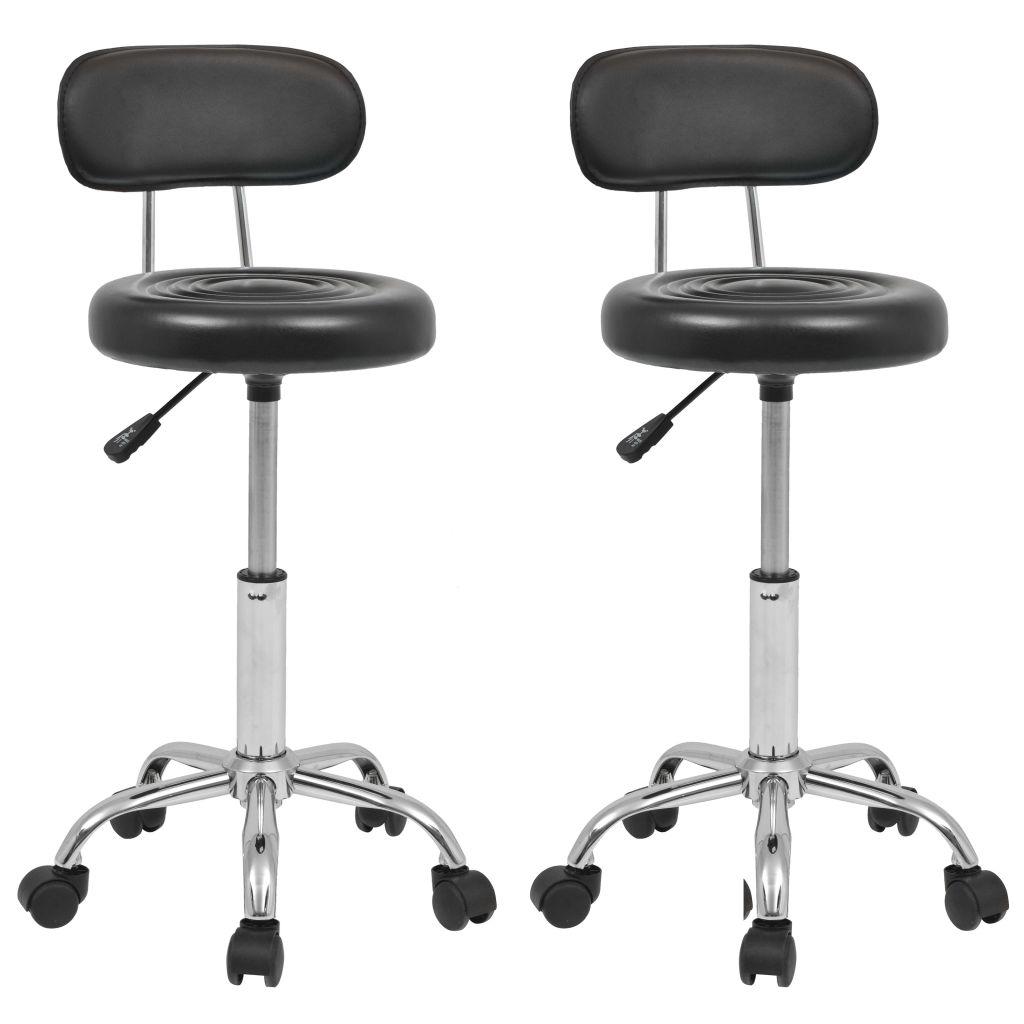 vidaXL Otočná barová stolička 2 ks, umelá koža, čierna