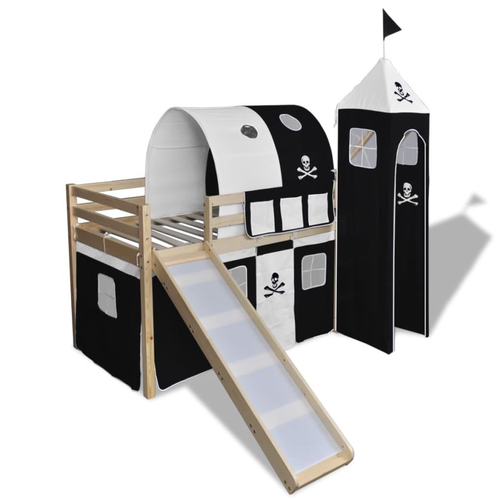vidaXL Detská drevená poschodová posteľ so šmykľavkou a rebríkom, čierno-biela