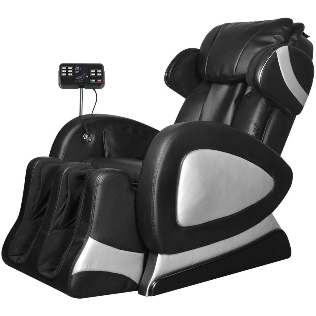 vidaXL Elektrické masážne kreslo s ovládacím panelom, umelá koža, čierne