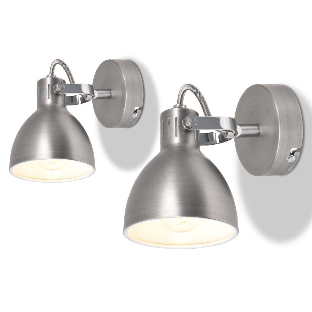 vidaXL Nástenné svietidlo na 2 žiarovky, 2 ks, E14, šedé