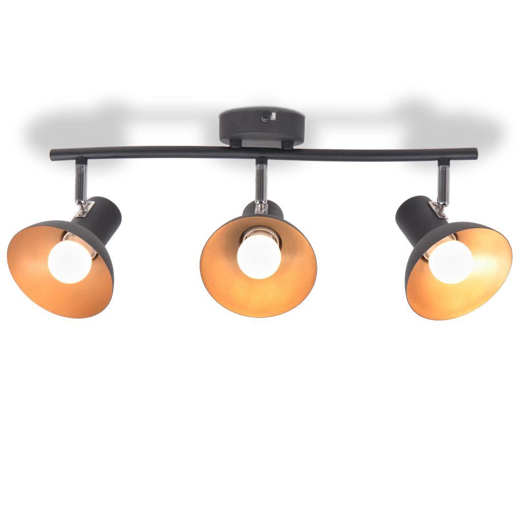 vidaXL Stropné svietidlo na 3 žiarovky E27, čierno-zlaté