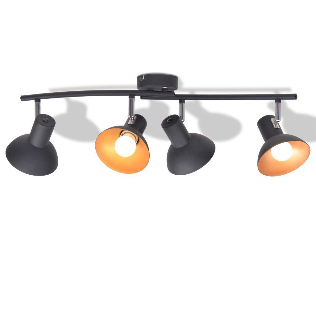 vidaXL Stropné svietidlo na 4 žiarovky E27, čierno-zlaté