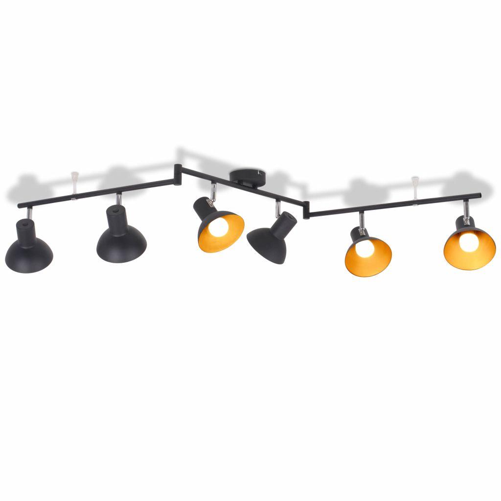 vidaXL Stropné svietidlo na 6 žiaroviek E27, čierno-zlaté