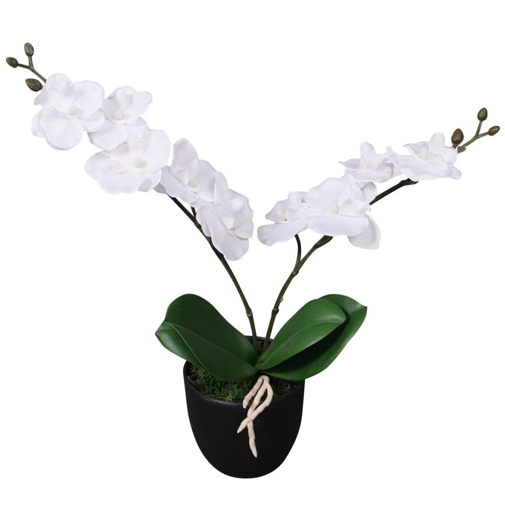 vidaXL Umelá orchidea s kvetináčom, 30 cm, biela