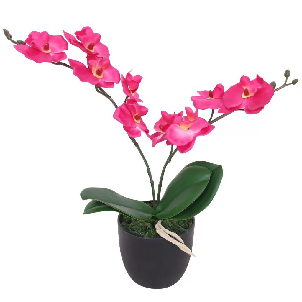 vidaXL Umelá orchidea s kvetináčom, 30 cm, červená