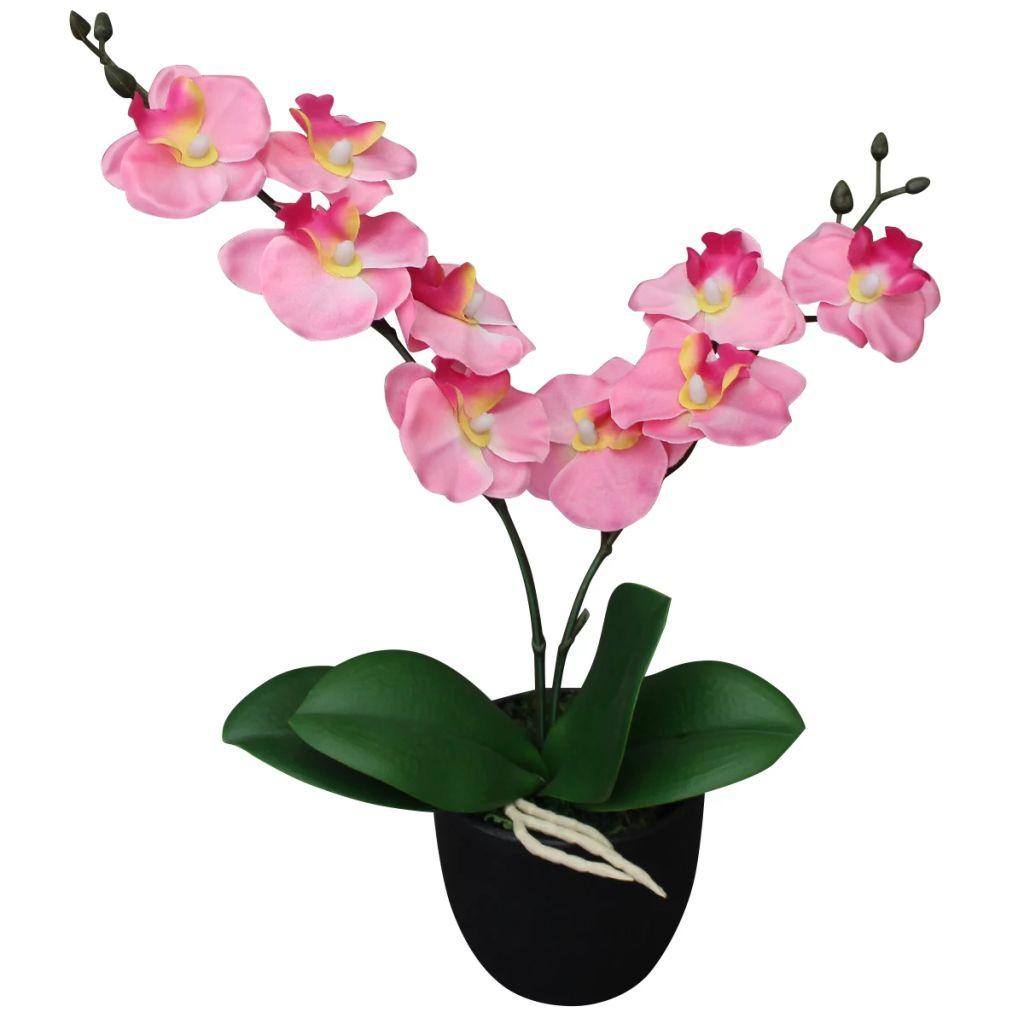vidaXL Umelá orchidea s kvetináčom, 30 cm, ružová