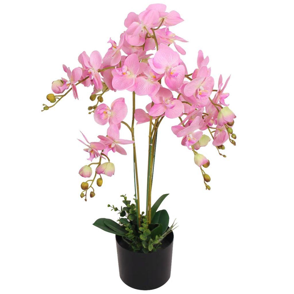 vidaXL Umelá orchidea s kvetináčom, 75 cm, ružová