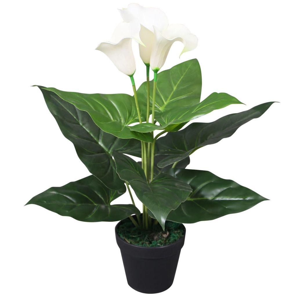 vidaXL Umelá Calla ľalia s kvetináčom, 45 cm, biela